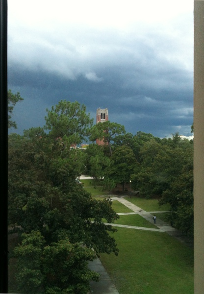 Century Tower on UF campus, as viewed from 4th floor of Library West.