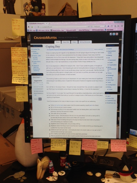 Left (primary) monitor at work, and the notes I've posted there.