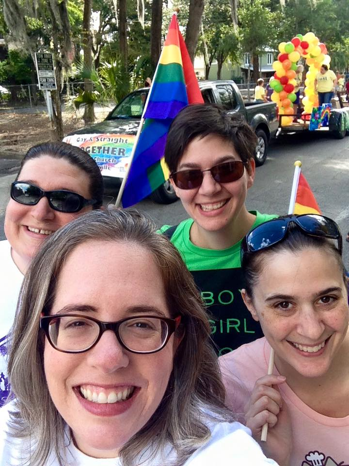 Kate, Allyson, Anne and I prepare for the Pride Parade