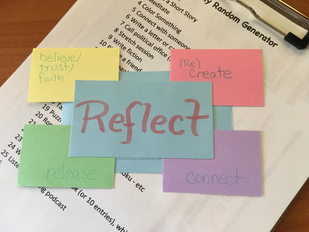 Center word Reflect, surrounded by believe/trust/faith, (re)create, release and connect -seen on a daily random generator of simple tasks