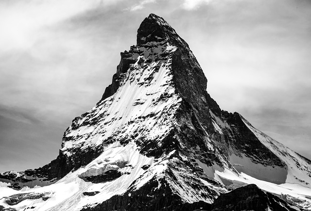 Black and white photograph of the Matterhorn, Switzerland.