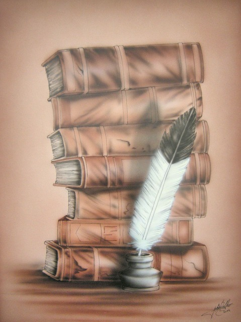 Drawn image of a stack of books with a quill and ink pot in front of it.