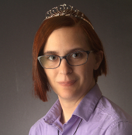 Image of Christy in tiara and purple shirt