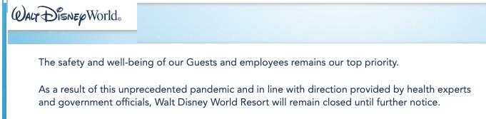 Screen shot of Walt Disney's World for COVID-19