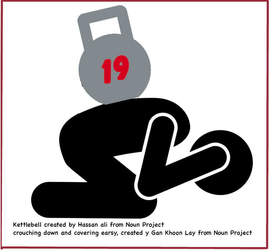 Image of person crouching down with a kettlebell on their back, with the number 19 on it