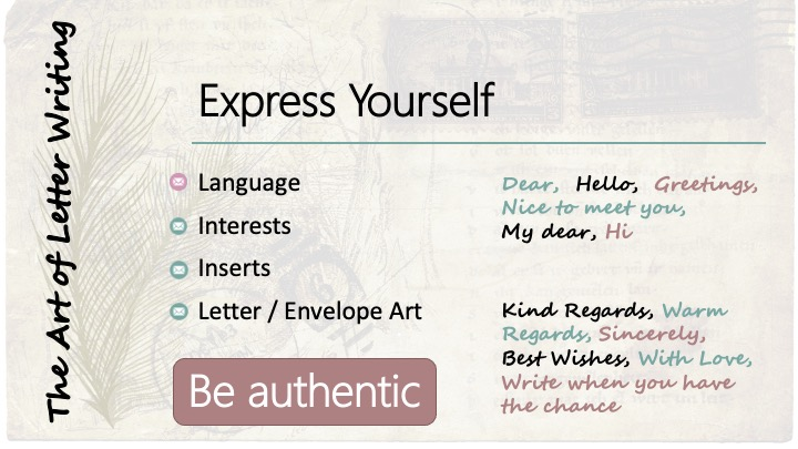 Express yourself: Language; Dear, Hello, Greetings, Nice to meet you, My dear, Hi; Kind regards, Warm regards, Sincerely, Best wishes, With love, Write when you have the chance.