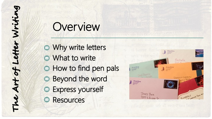 Overview: Why write letters; What to write; How to find pen pals; Beyond the word; Express yourself; Resources
