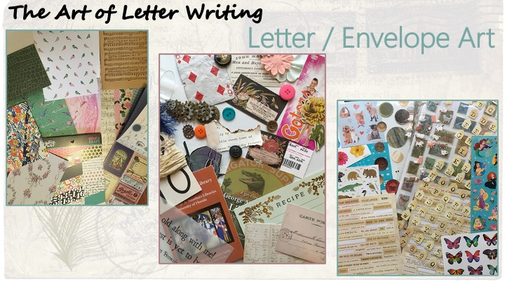 "Letter / Envelope Art - Image of various decorative paper, Image of a variety of stickers, image of ""do-dads,"" including buttons, cutouts, blank recipe card, worn playing card, among others."