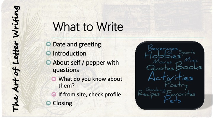 What to write: Date and greeting; introduction; about self/ pepper with questions, what do you know about them?, If from site, check profile; Closing - word cloud of different hobbies and interests.