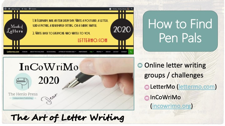 How to find pen pals: Online letter writing groups / challenges - LetterMo (www.lettermo.com), InCoWriMo (incowrimo.org).  Images - banner from LetterMo.com and banner from InCoWriMo 2020 Facebook group page.