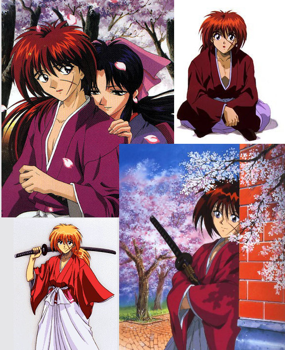 Collage of four images of Rurouni Kenshin animated show